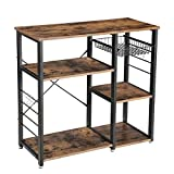 VASAGLE Industrial Kitchen Baker's Rack, Utility Storage Shelf, Microwave Oven Stand Metal Frame, Wire Basket 6 Hooks Mini Oven, Spices Utensils, Simple Assembly Wood Look UKKS90X