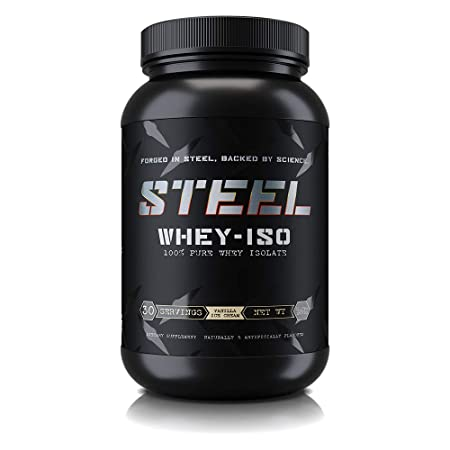 Steel Supplements Whey-ISO Whey Protein Isolate Powder Supplement Supports Lean Muscle Gains 2 Pounds Vanilla Ice Cream