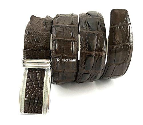 Handmade NoJointed # Genuine Crocodile Alligator Skin Leather Brown Belt 48