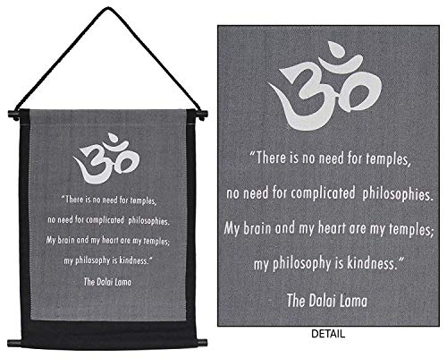 (4Rissa Dalai Lama Om Symbol Kindness Prayer Inspirational Quote Tapestry Healing Reiki Studio Hanging Wall Art)