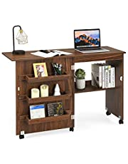 """DORTALA Folding Sewing Table, Wood Sewing Craft Table with Open Storage Shelves and Lockable Casters, Space-Saving Craft Table Cart for Apartment, Living Room, 46""""x16""""x31'', Brown"""