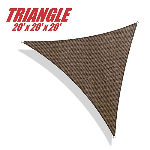 ColourTree 20' x 20' x 20' Sun Shade Sail Canopy Triangle Brown - Commercial Standard Heavy Duty - 160 GSM - 4 Years Warranty