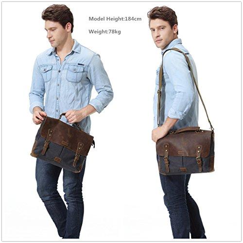 Vaschy Messenger bag for men, Vintage Leather Canvas Satchel 14in Laptop Crossbody Shoulder Bag by Vaschy (Image #6)