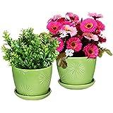 Set of 2 Decorative Green Daisy Burst Design Ceramic Plant Flower Planter Pots w/ Attached Saucers