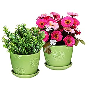 MyGift Set of 2 Decorative Green Daisy Burst Design Ceramic Plant Flower Planter Pots w/Attached Saucers 29