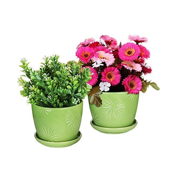 MyGift Set of 2 Decorative Green Daisy Burst Design Ceramic Plant Flower Planter Pots w/Attached Saucers