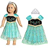 18 Inch Doll Clothes(Colorful Print Evening Dress with Embellished Crown)Fits American Girl Dolls