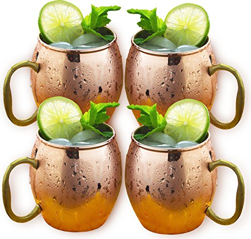 Estilo Handcrafted Solid Copper Moscow Mule Mugs, 20-ounce - Set of 4 by Estilo