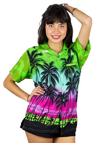 Silk Dress Draped - V.H.O. Funky Hawaiian Shirt for Women, Beach, Green, 3XL