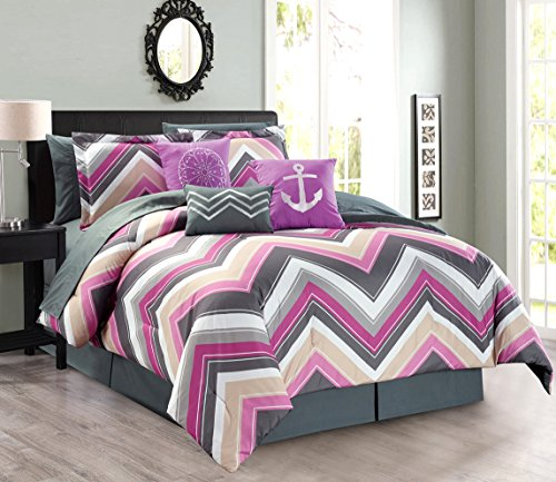 11-Piece Oversize CHEVRON ZIGZAG Designer Nautical Anchor Comforter Set (California) Cal King Size Bed In A Bag with Sheets and Decorative Pillows (Purple, Pink, Grey) ()