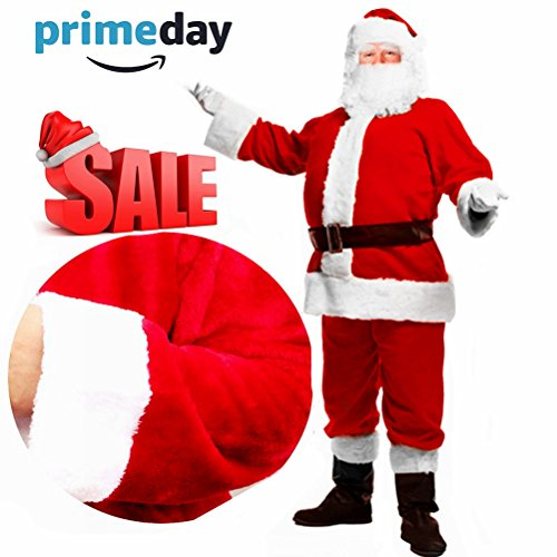 Christmas Santa Claus Costume with Beard,Velvet Men's Deluxe Santa Suit Adult,Red,M to ()