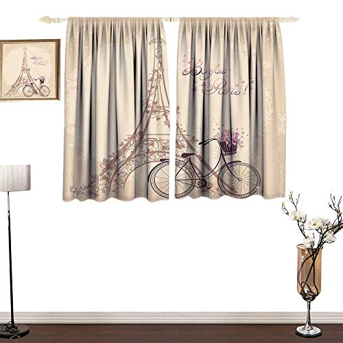 RenteriaDecor Paris Bedroom Curtains Bonjour Paris Eiffel Tower and Vintage Bicycle with Flowers Retro Soft Color Print Indoor Wall Curtain Decorations W55 x L63