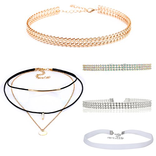 - Tpocean 5pcs Women's Vintage Colorful Rhinestone Diamond Gold Sequins Multilayer Velvet Choker Necklaces Set for Women Girls Teen