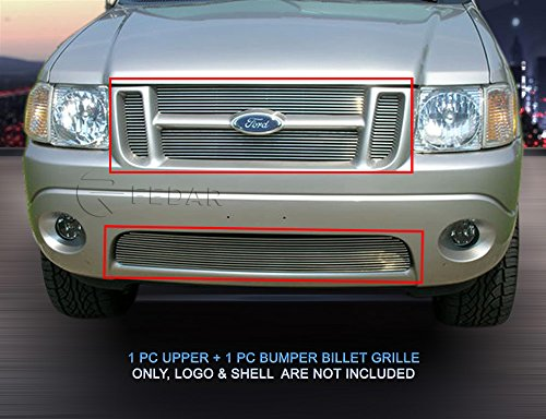 Fedar 01-05 Ford Explorer Sport/Sport Trac Replacement Style Combo Billet Grille Grill 2-pcs Set-Polished #320228220 -