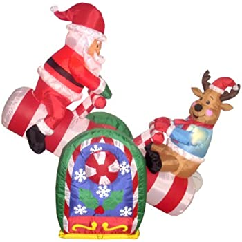 Animated 8 foot wide christmas inflatable for 4 foot santa claus decoration