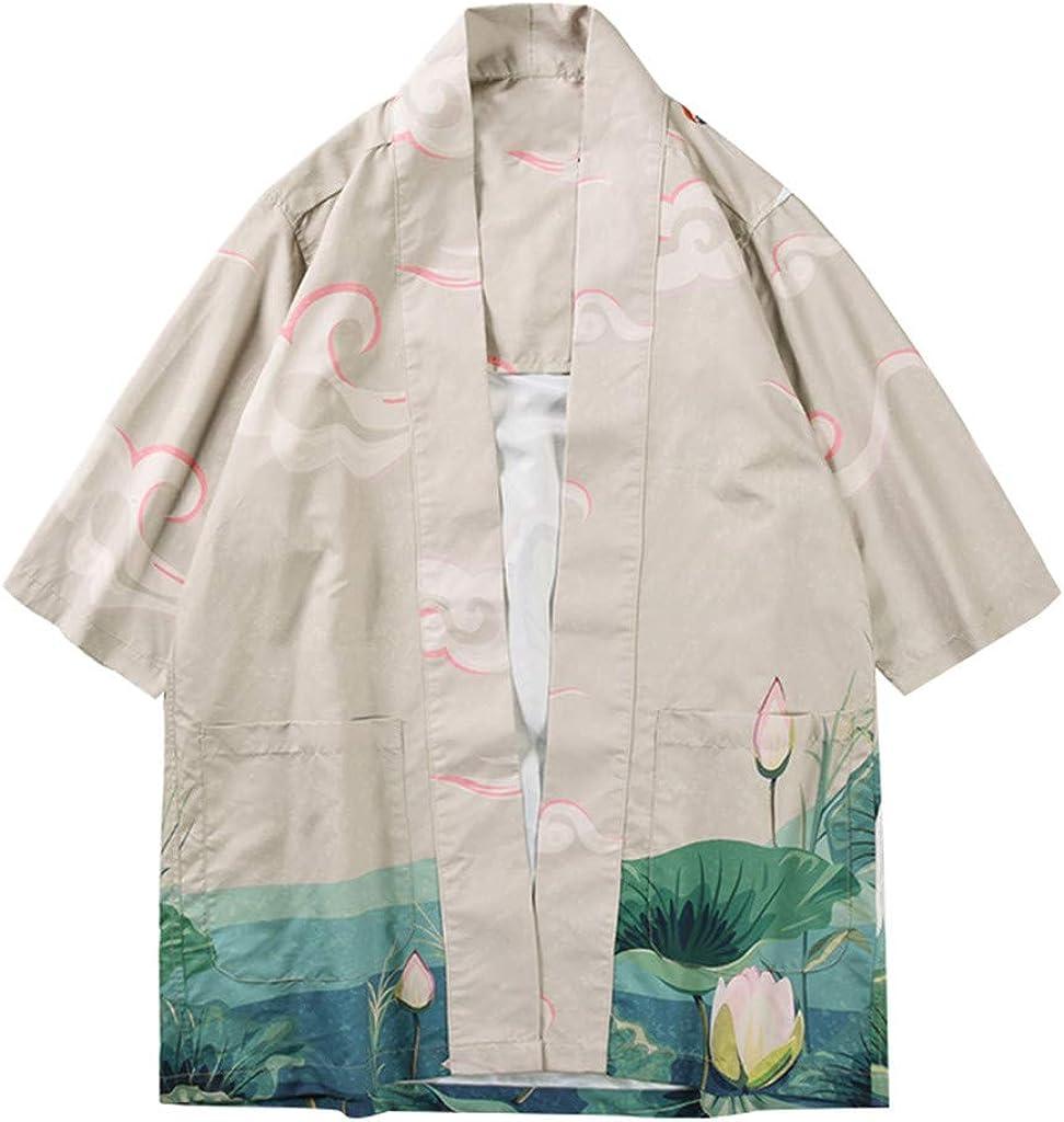 MOTOCO Hombre Japonés Kimono Cardigan Estilo Antiguo Floral Suelta ...