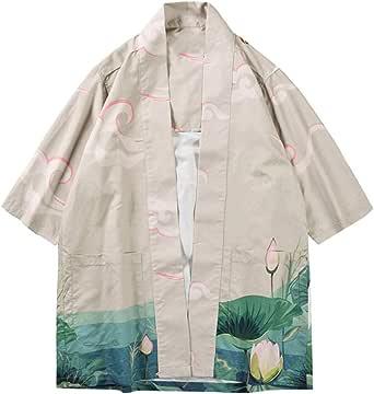 MOTOCO Hombre Japonés Kimono Cardigan Estilo Antiguo Floral Suelta Ropa para Mujeres Hombres NiñAs(XL, Caqui): Amazon.es: Ropa y accesorios