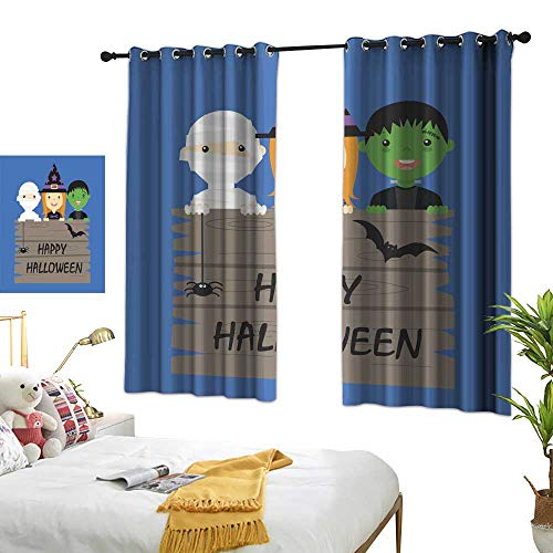 Different Visual Experience Experience Curtains Halloween Costume Party with Kids Colorful Life W84.2 xL72]()