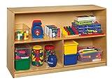 Childcraft 1335358 Storage Unit, Birch Veneer Panel, 4-Coat UV Acrylic, 3-Compartment, 47'' x 13'' x 30-5/8'', Natural Wood Tone