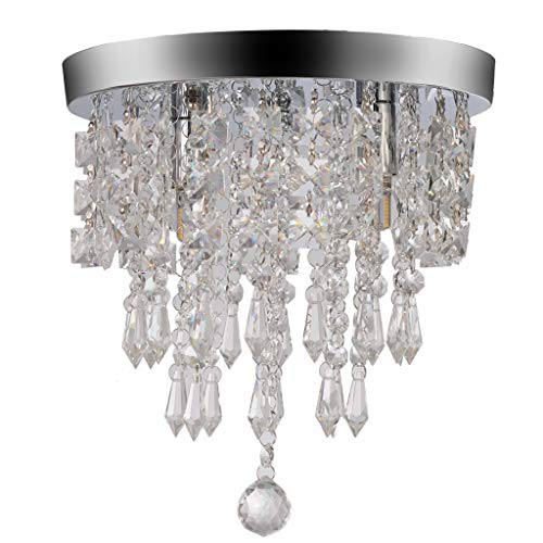 Lisin Chandelier Crystal Chandelier Lighting 2 Lights Flush Mount Ceiling Light g9 for Bedroom, Hallway, Bar, Kitchen, Bathroom ()
