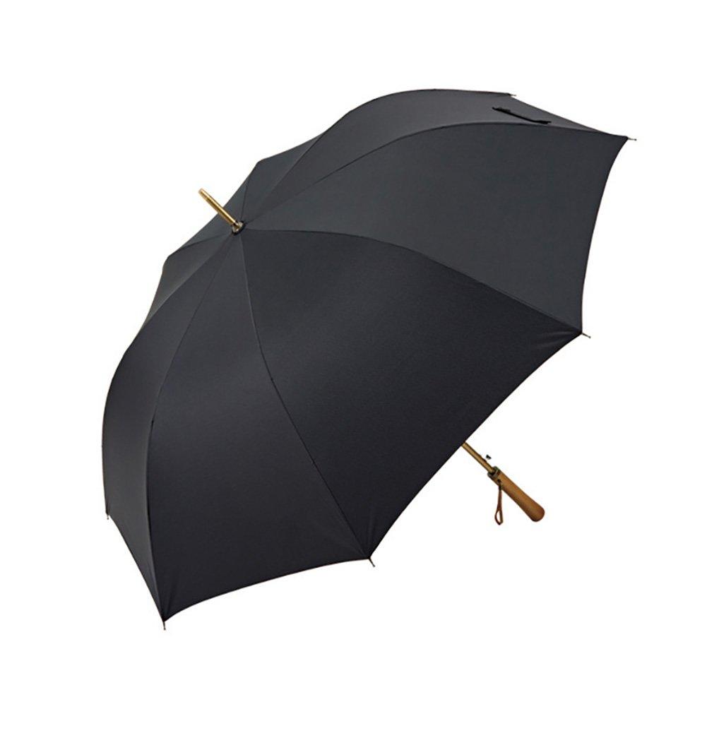 Commercial Portable Long Handle Umbrella Gentleman Bumbershoot Dual Purpose With Cover (Color : Black)
