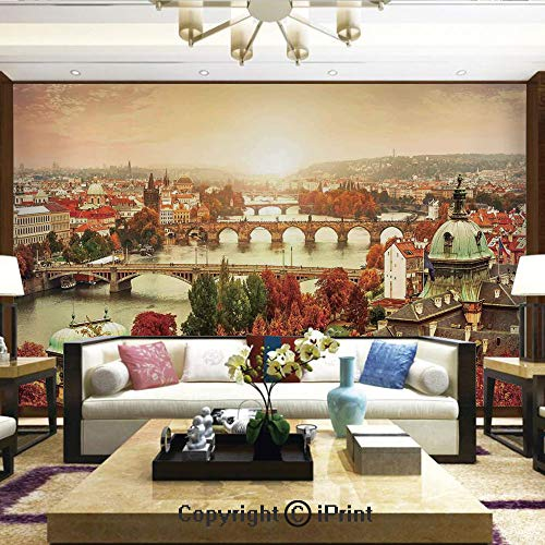 (Lionpapa_mural Nature Wall Photo Decoration Removable & Reusable Wallpaper,Sunset Landscape with Charles Bridge on Vltava River Sunshine Colorful Tree Leaves,Home Decor - 66x96 inches)
