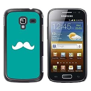 Bigote trullo Verde Blanco Hipster - Metal de aluminio y de plástico duro Caja del teléfono - Negro - Samsung Galaxy Ace 2