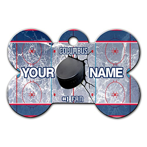 BleuReign(TM) Personalized Custom Name Hockey Team Columbus License Plate Bone Shaped Metal Pet ID Tag with Contact Information