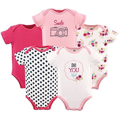 Hudson Baby Baby Cotton Bodysuits, Be Be Youtiful 5-Pack 12-18 Months (18M) ()