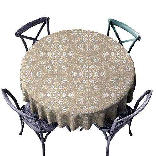 duommhome Mosaic Washable Table Cloth Antique Roman Time Inspired Rock Design with Circled Modern Lines Image Print Indoor Outdoor Camping Picnic D71 Tan Peach White