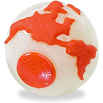 Planet Dog Orbee Ball, Planet Ball, Durable Chew-Fetch Dog Ball, 100% Guaranteed Tough, Made in the USA, Glow in the Dark, Large 4-Inch, Glow and Orange