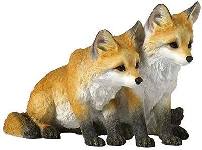 5.5 Inch Two Fox Pups Decorative Statue Figurine, Orange and White