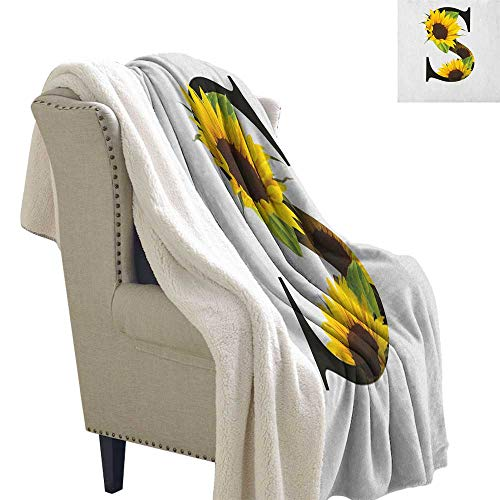 Suchashome Letter S Throw Blanket for Couch Letter S with Flora Elements Sunflowers on Dark Colored Abstract Art Print Light Thermal Blanket 60x47 Inch Yellow Green Black