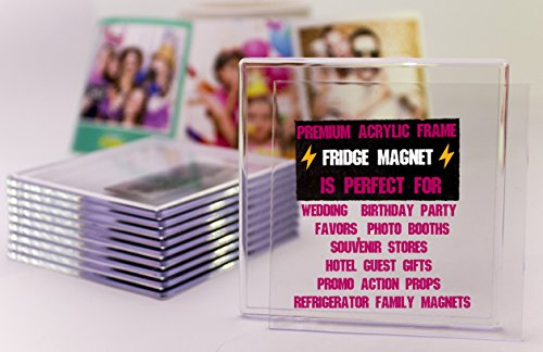 NSD5 Premium Blank Clear Acrylic Fridge Photo Insert Magnets Sturdy Transparent Plastic DIY Refrigerator Magnet Set, 4x4 Size, Ideal for Souvenirs, Wedding Gifts & Keepsakes (10+1 Free) ()