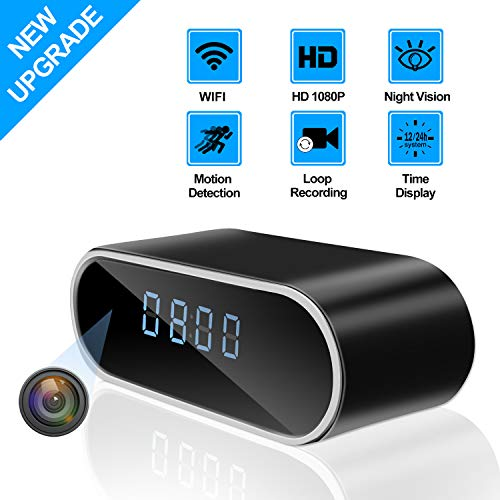 KAMRE Upgraded 1080P WiFi Hidden Spy Camera Clock Video Recorder Wireless IP Camera with Night Vision and Motion Detection 140?Angle, Nanny Cam for Home Security