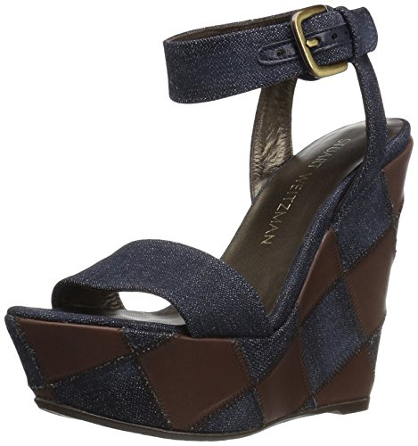 Stuart Weitzman Women's Letsdance Wedge Sandal Navy MAQhiG