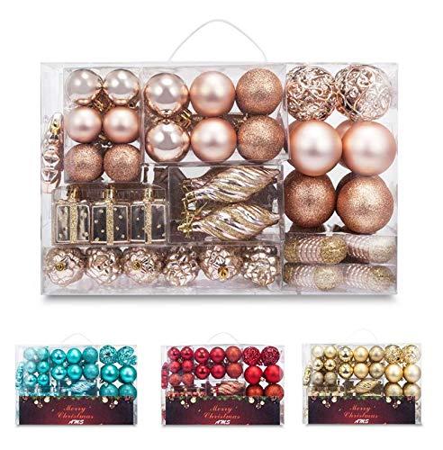 AMS 72ct Christmas Ball Assorted Pendant Shatterproof Ball Ornament Set Seasonal Decorations...
