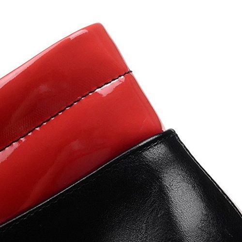 Allhqfashion Donna Tacco A Spillo Punta Chiusa Stivaletti Stringati In Materiale Morbido Rosso