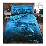 Rimi Hanger Luxury Soft 3D Panel Printed Duvet Quilt Bedding Cover Set with Pillow Cases Dolphin Print King Size