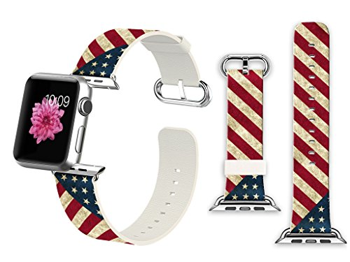 Price comparison product image 38mm Apple Watch Band Soft Leather Sport Style Series 2 Series 1 Men Women Wrist Strap Replacement - Retro diagonal stripes American flag