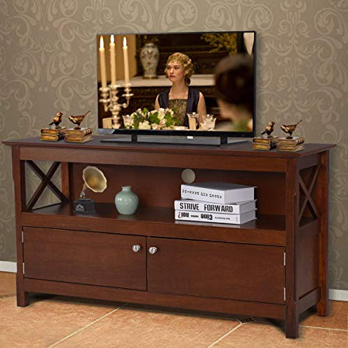 (Tangkula Wood TV Stand, Modern Multipurpose Home Furniture Storage Console Entertainment Media Center (Brown))