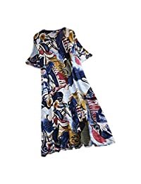 TIMEMEANS Classic Cotton Linen Dress Womens Printed V-Neck Short-Sleeve Mid-Length Dress
