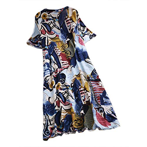 Women Dresses Clearance Long Women Cotton Linen Printed Dress V-neck Short-sleeve Loose Mid-length Dress For Anniversary,Party,Valentines Day (Blue,XXL)