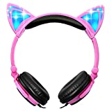 Teetox Cat Ear Headphones Kids Headphones Blinking Fashion Glowing Cosplay Fancy Foldable Over-Ear Gaming Headsets with LED Light for iPhone6s,6s Plus,Android,iPad and Computer,Pink