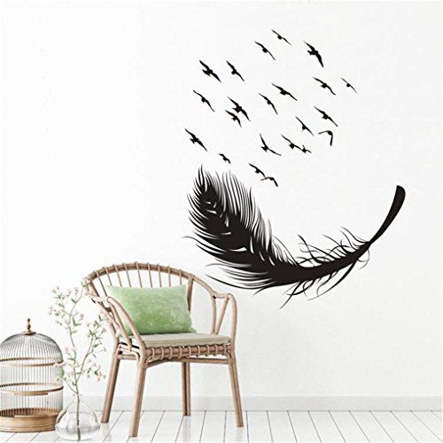 3D Wall Stickers,TPTPT DIY Multicolor Bird Feather Removable Wall Decal Family Home Sticker Mural Art Home Decor (Black)