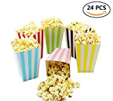 popcorn bag holder - Colorful Striped Popcorn Boxes Cardboard Candy Container for Carnival/Graduation/Party/Movie/Fiesta/, 24 Pieces