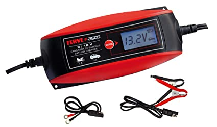 FERVE F-2505 Cargador de baterías, Negro, Rojo