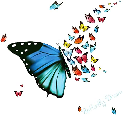 Ruiting Sticker Mural Papillons,Volants Papillon Wall Sticker 2Pcs Creative Stickers muraux Chambre denfant Nursery Amovible Papillons Papier Mur