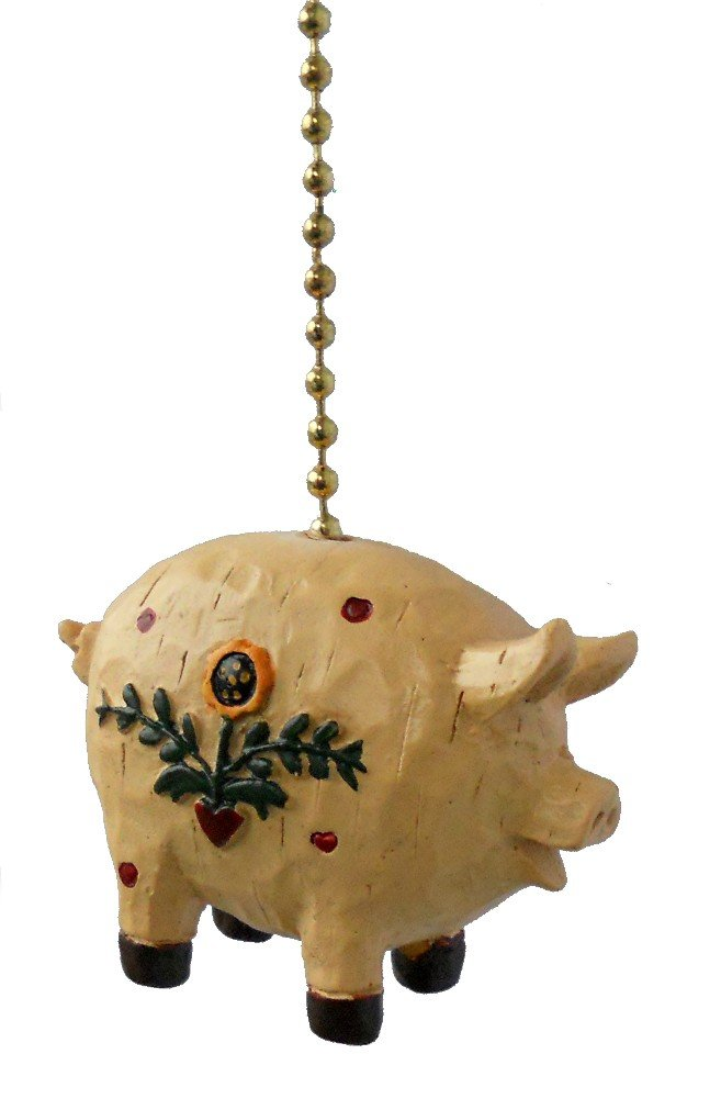 Clementine Primitive Country Pig Ceiling Fan Pull Light Chain Extender