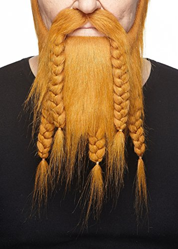 Mustaches Self Adhesive, Novelty, Viking Dwarf Fake Beard, False Facial Hair, Costume Accessory for Adults, Ginger Color -